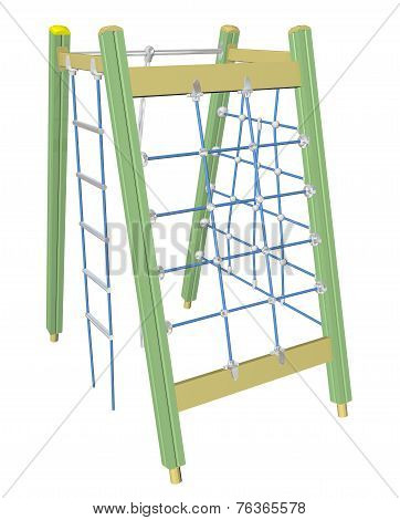Play And Climbing Net, 3D Illustration