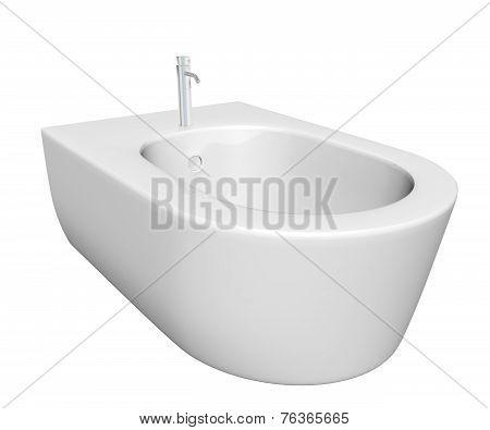 Round Bidet Design For Bathrooms. 3D Illustration.