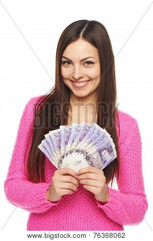 Woman with British pounds