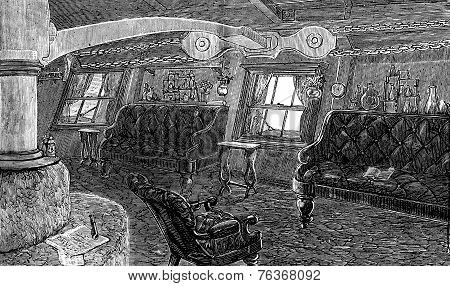 Life on board. The living room of the captain vintage engraved illustration. Journal des Voyages Travel Journal (1879-80). poster