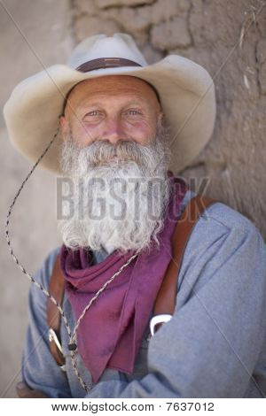 Old Cowboy With Hat And Beard