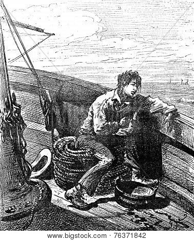 Robinsons Of Guyana. The Parisian Was Seasick, Vintage Engraving.