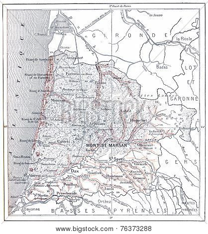 Map Of Department Of Heathland, Vintage Engraving.