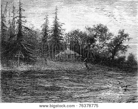 Shore of the Dvina vintage engraved illustration. Le Tour du Monde Travel Journal (1872). poster