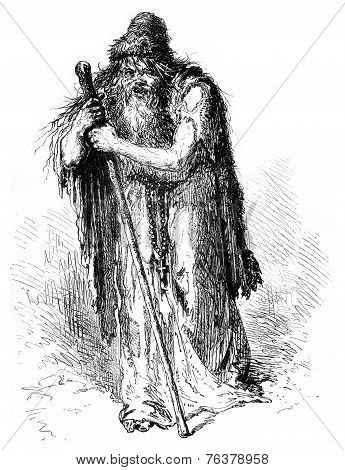 Father Nicolas, Professor Of Abjection, Vintage Engraving.