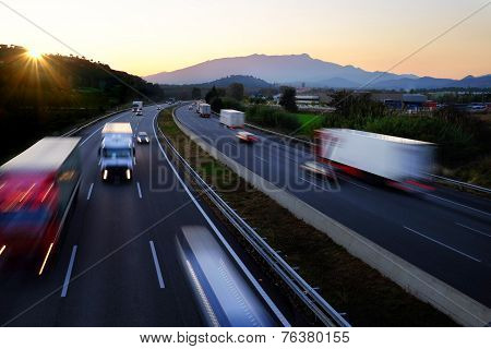 Buzy Traffic On Highway.