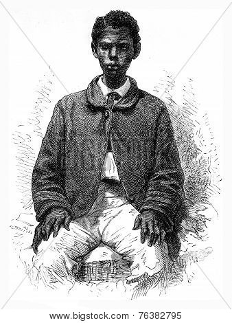 Committed Senegalese vintage engraved illustration. Le Tour du Monde Travel Journal (1872). poster