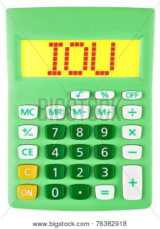 Calculator With Iou On Display Isolated