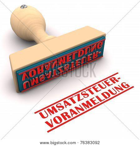 """Stamp with german text """"Umsatzsteuervoranmeldung"""" translate """"VAT Return"""". poster"""