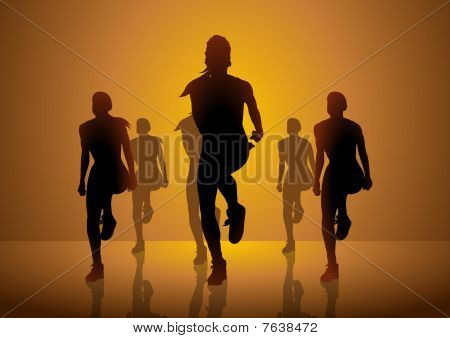 An illustration of a group of women doing aerobic poster