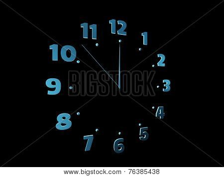 Blue Clock Isolated On Black