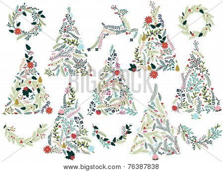Floral or Botanical Christmas Trees, Wreaths, Bunting and Reindeer