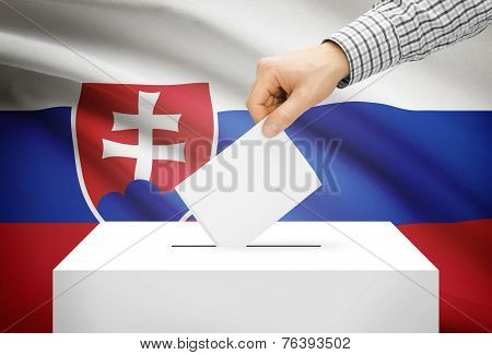 Voting Concept - Ballot Box With National Flag On Background - Slovakia