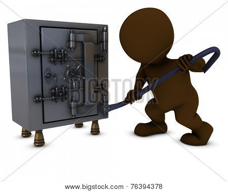 3D Render of Morph Man breaking into a safe