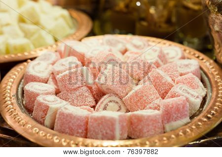 Variety Of Turkish Delight And Dried Fruit