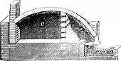 Common pottery kiln vintage engraving. Old engraved illustration of Common pottery kiln. poster