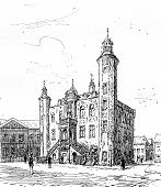 Holland crow flies. Hotel City Venlo vintage engraved illustration. Journal des Voyage Travel Journal (1880-81). poster