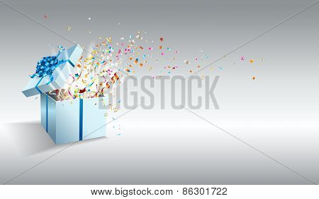 Open gift with fireworks from confetti.