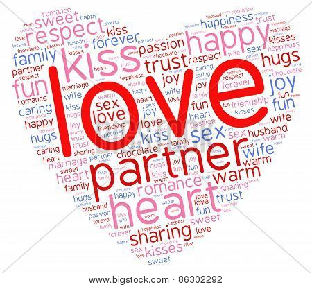 Love Heart Shaped Word Cloud On A White Background