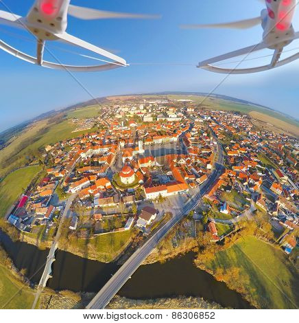 Aerial view from drone to small town in Western Bohemia (Dobrany), Czech Republic, Europe.