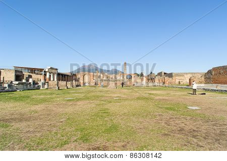 Naples, Italy - January 19, 2010: Temple Of Jupiter In Pompeii