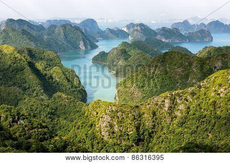 Halong bay archipelago top view from Cat Ba island, Vietnam