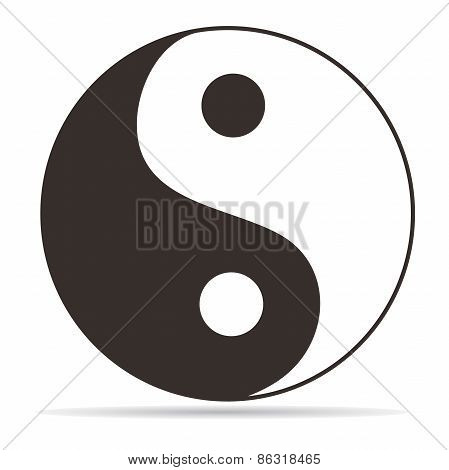 Yin Yang symbol on white background, vector poster