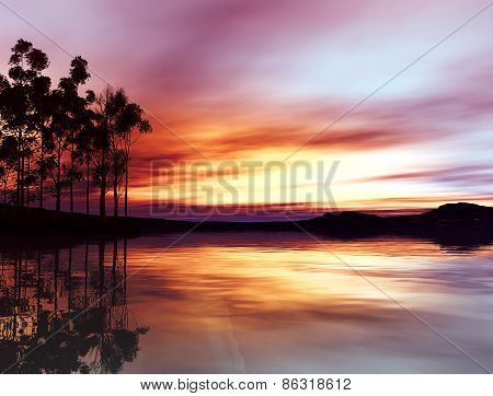 3D illustration of landscape with beautiful sunset