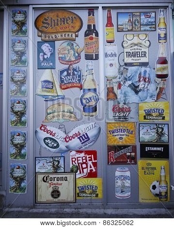 Beer labels on wall in Brooklyn