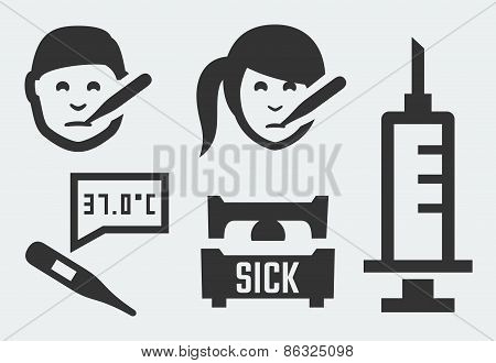 Sickness Related Vector Icons Set