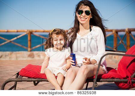 Little Girl With Sunblock