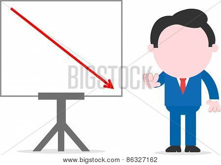 Businessman Beside Chart With Arrow Going Down
