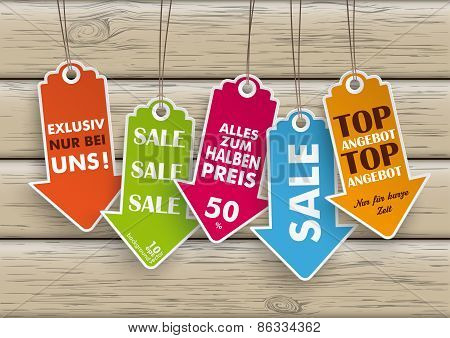 5 Colored Price Stickers Arrows Wood