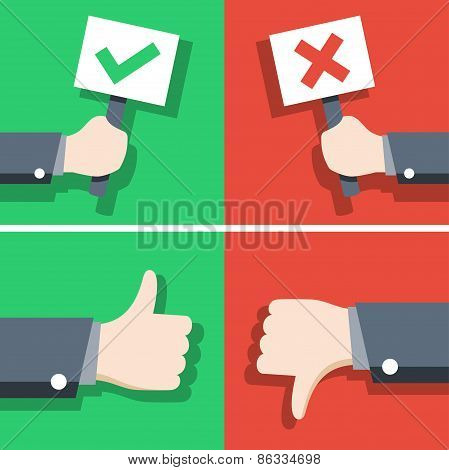 Vector Illustration Of Positive And Negative Feedback Concept, Flat Style