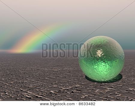 Computer Generated Abstract Image of a Colourful Sphere with Rainbow poster