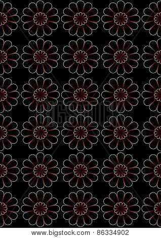 Bright superimposed on each other daisies on black background