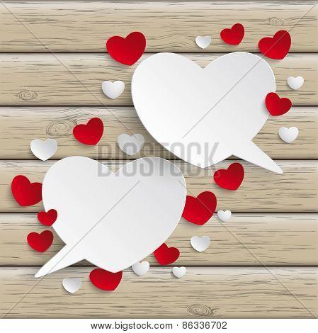 White Hearts Speech Bubbles Wood