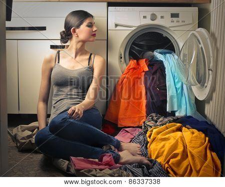 Woman doing laundry