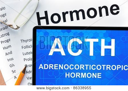 Papers with hormones list and tablet  with words adrenocorticotropic hormone (ACTH).