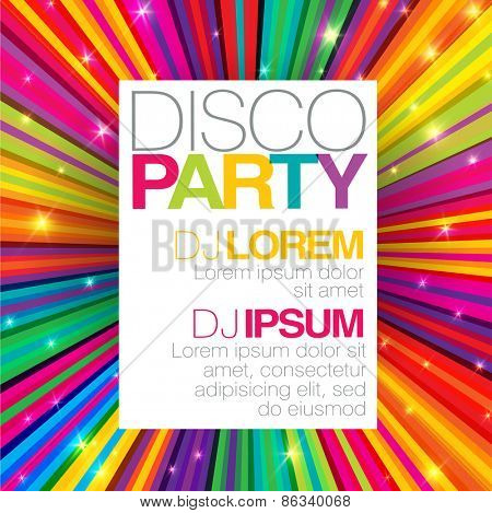 Disco poster or flyer design vector template on colorful rays background