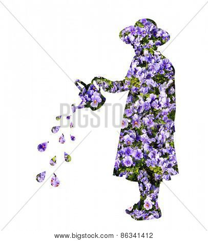 Cut out of young girl wearing a hat superimposed with flowers