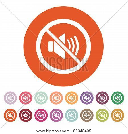 The no sound icon. Volume Off symbol. Flat Vector illustration. Button Set poster