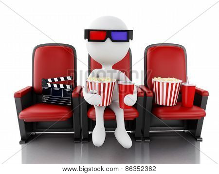3d white people with clapper board, popcorn and drink on theater