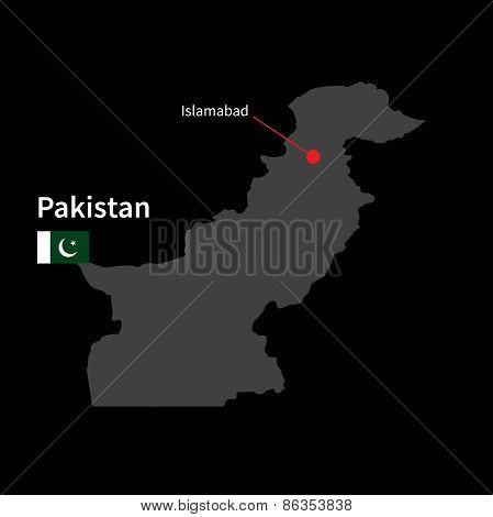 Detailed map of Pakistan and capital city Islamabad with flag on black background