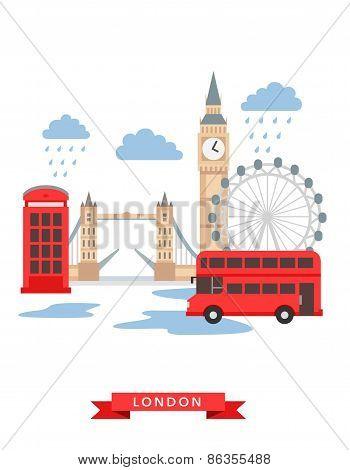 London flat background vector