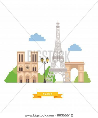 Paris flat background vector