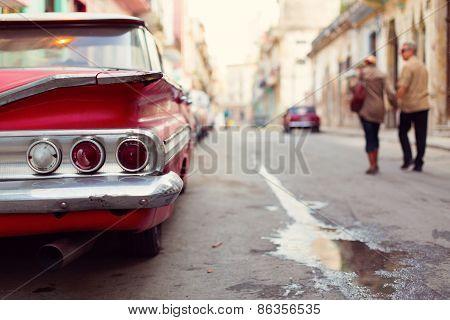 Classic Old Car On Streets Of Havana, Cuba