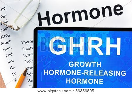 Papers with hormones list and tablet  with words Growth hormone-releasing hormone (GHRH) .