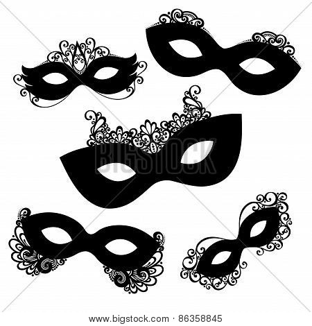Vector Set of 5 Ornate Mask Stencils. Venetian Carnival, Mardi Gras, Shrove Tuesday