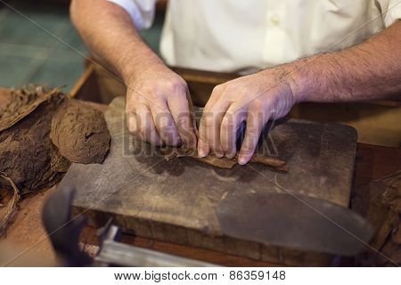 Handmade cigar live preparation in Vinales, Cuba poster